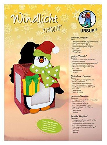 Ursus 1460003 - Windlichter Pinguin, ca. 10 x 12 cm, Windlicht aus 3D - Colorwellpappe, 8 Blatt Fotokarton in 7 Farben, inklusive Vorlagebogen mit Bastelanleitung, ideal als Tischdeko
