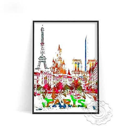 linbindeshoop Color World City Poster York Paris Moscow Wall Art Dubai Roma Wall Stickers San Francisco Rio De Janeiro Travel Poster(LT-382) 50x70cm No frame