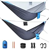 G4Free Portable Camping Hammock with Mosquito Bug Net Tree Straps Double & Single Hammock Tent Parachute Fabric for Outdoor Backpacking Backyard Hiking Equipment…