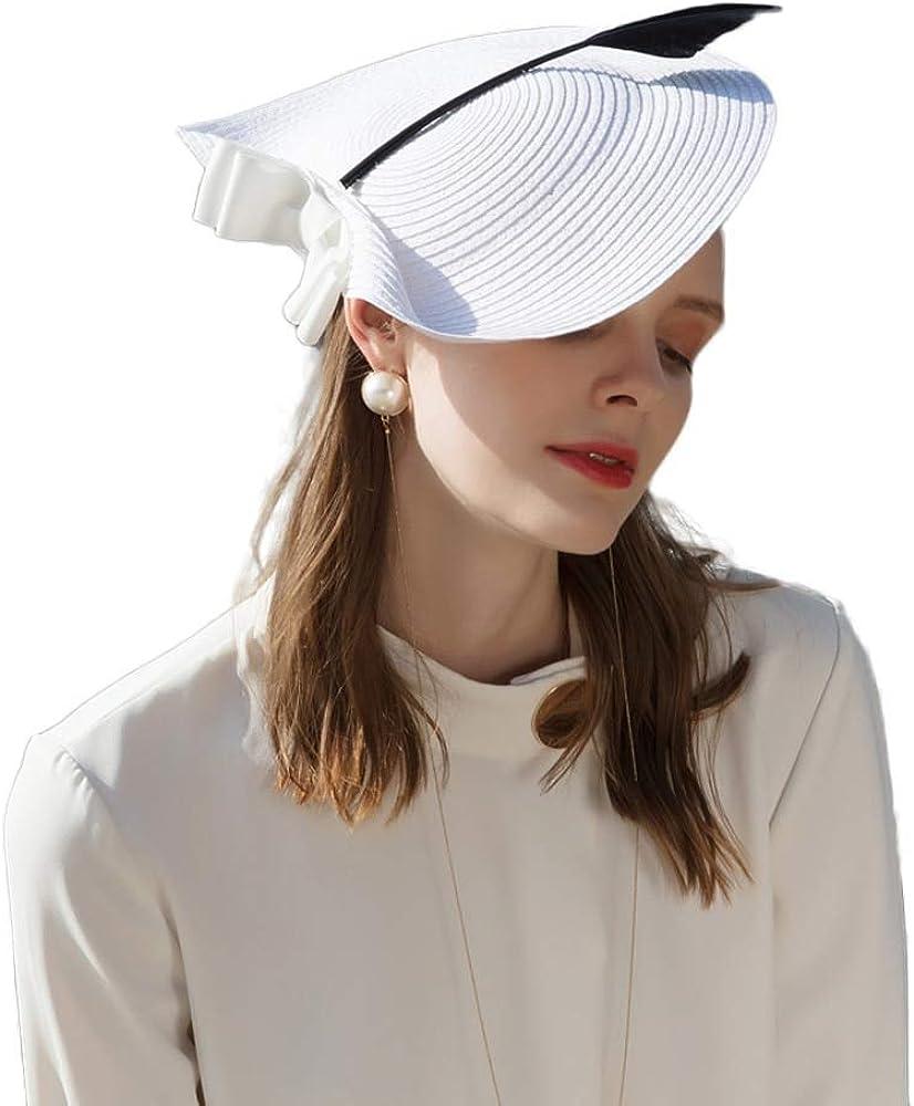 F FADVES Women Straw Arrow Fascinator Cocktail Saucer Hat Party Wedding Headpiece Cap