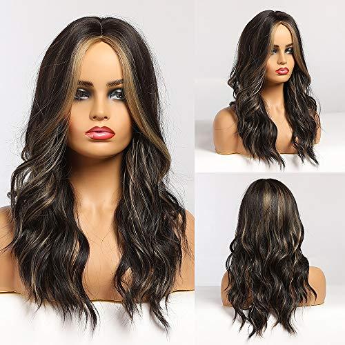 HAIRCUBE Langes lockiges Haar Perücke für Frauen Mittelteil Haar Perücken Synthetisch Schwarz Mix Braun Haar Perücke