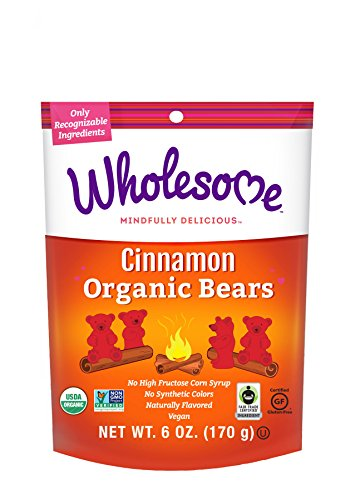 Wholesome Fair Trade Organic Cinnamon Bears No Artificial Colors or High Fructose Corn Syrup Non GMO amp Gluten Free Vegan 6 Ounce Pack of 6