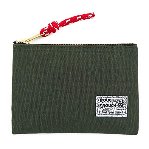 Rough Enough Small Canvas Pouch Wallet Purse Insert Organizer with Zipper EDC Pouch for Women Coin Purse Cell Phone Credit Card Holder Stationary Supplies Travel Gear Car Essential