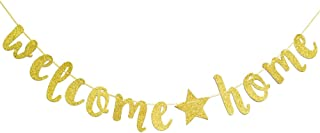 Welcome Home Gold Glitter Banner for Housewarming Decoration Family Party Supplies
