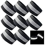 YSSAFE Black 8 Packs Reflective Wristbands/Belt/Armbands/Ankle Bands Adjustable Elastic High Visibility Safety Reflector Tape Straps
