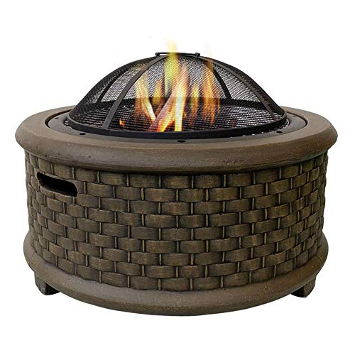 kleine Feuerstelle, Feuerstelle mit BBQ Grill-Regal, 7048,5 cm Firepit-Grill mit modischer und künstlerischer Magnesiumoxid-Basis für Gartengrill-Grillausflug (Color : Brown)