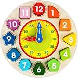 Wooden Shape Color Sorting Clock, Apfity Wooden Toy for Baby Toddlers Kids, Teaching