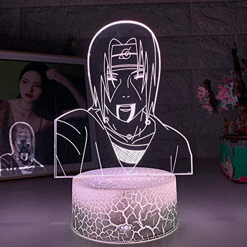 Tatapai Luz nocturna 3D Ilusión Led Lámparas Decoración Lámpara para Niños Ilusión 3D Lámpara Anime Naruto Uchiha Itachi Luz para Dormitorio Niños Regalo de cumpleaños Sasuke Lámpara Naruto Luz
