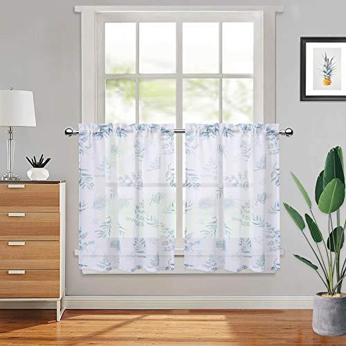 "CAROMIO Voile Curtains Decorative Semi Transparent Half Window Treatment Sheer Cafe Small Voile Kitchen Curtains, 27"" x 24"", 2 Panels"