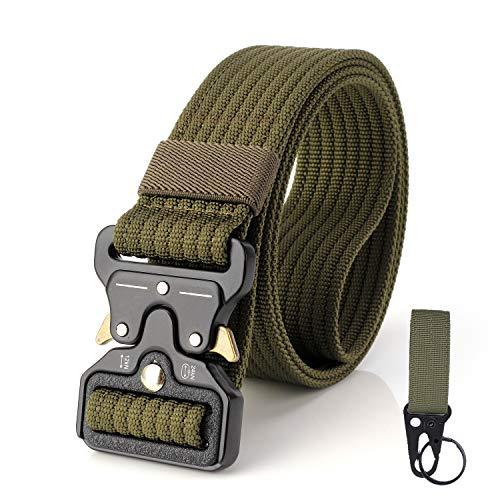 S.Lux 2 Piezas Hombres Cinturón de Lona, YKK Hebilla de Plástico Cinturón de Secado Rápido Transpirable Hipoalergénico Cinturón Recreación al aire libre Fitness Ejercicio (Verde A)