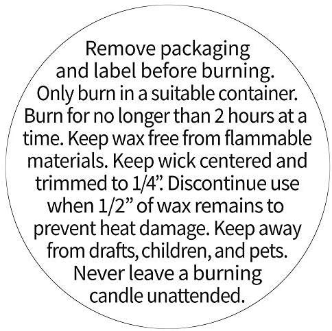 Candle Warning Stickers, 1.5' Round Label, 300 Labels, Black and White Text, Sticker Decal for Candle Jars, Tins and Votives