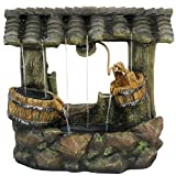 Sunnydaze Enchanted Wishing Well Water Fountain with LED Lights - Outdoor Garden Waterfall Feature - 25 Inch Tall