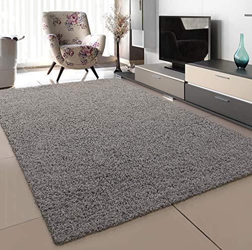 SANAT Teppich Wohnzimmer - Hellgrau Hochflor Langflor Teppiche Modern, Größe: 160x230 cm