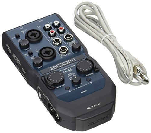 Zoom U-44 Handy Audio Interface, 4-Channel Portable USB Audio Interface, 2 XLR/TRS Combo Inputs, MIDI I/O, RCA Outputs, Compatible with Zoom Capsules