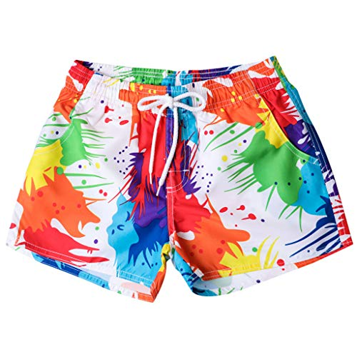 JMETRIC_Badehose Regenbogenfarbe Persönlichkeits Schwimmshorts Surf Shorts Kurze Badeshorts Surf Strandhosen Shorts (Mehrfarbig,L)