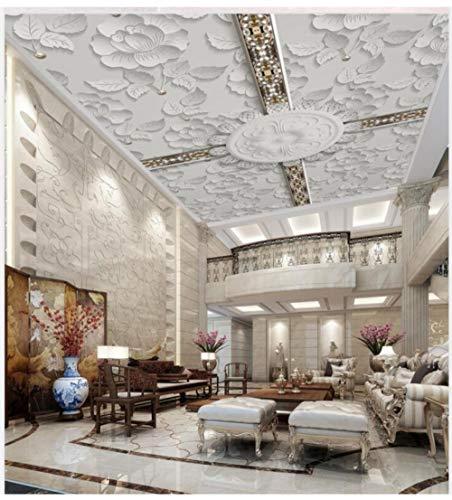 Muurschilderingen op maat 3D behang Europees-Style witte reliëf bloem laat geometrische strepen plafond muurschildering achtergrond muur slaapkamer woonkamer decoratie