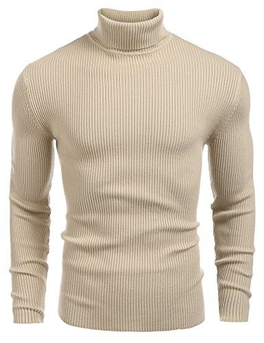 Coofandy Mens Ribbed Slim Fit Knitted Pullover Turtleneck Sweater Khaki Medium