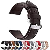 12 Colors for Quick Release Leather Watch Band, Fullmosa Axus Genuine Leather Watch Strap 22mm Dark Brown