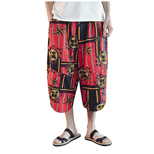 Buy Men's Linen Casual Shorts | Men Loose Baggy Fit Vintage Print Elastic Waist Drawstring Beach Spo...