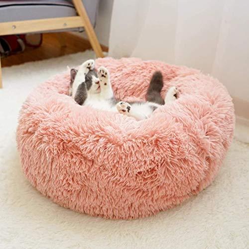 Muswannaペットベッドペットクッションペットマットペットソファラウンド型丸型ドーナツペットベッドぐっすり眠るふわふわもこもこ暖かい滑り止め防寒寒さ対策洗える猫用小型犬用ペット用品サイズ選択可カラー選択可(60x20cm,ピンク)