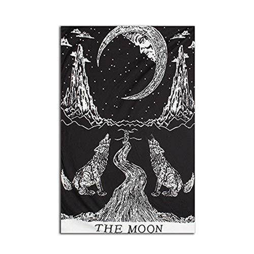 NGHSDO Tapiz Pared Tapices colgados de la Pared decoración de la Pared de Tela Tapices Psychedelic Hippie Luna de la Noche tapicería de la Pared de la Alfombra Tapices De Pared