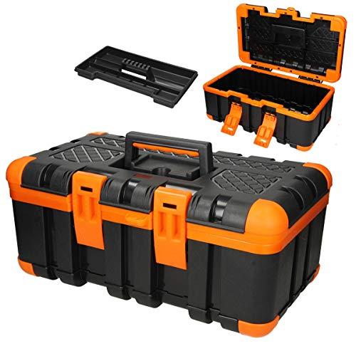 ECD Germany Werkzeugkasten Werkzeugkiste 50x30x24 cm - Zwischenfach - leer - aus Kunststoff - Gummiecken - für Heim- und Handwerker - Werkzeugbox Werkzeugkoffer Sortimentskoffer Montage Koffer Kasten