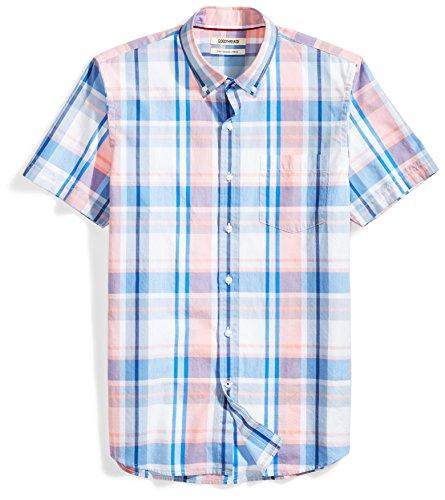 Goodthreads Men#039s SlimFit ShortSleeve LargeScale Plaid Shirt Pink/blue XLarge
