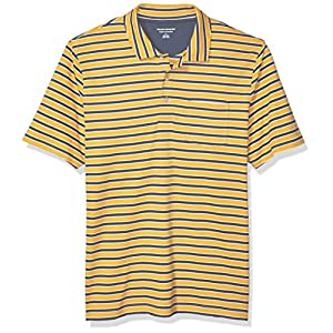Men's Regular-Fit Stripe Jersey Polo, Mustard Stripe, Medium