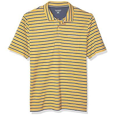 Men's Regular-Fit Stripe Jersey Polo, Mustard Stripe, Medium