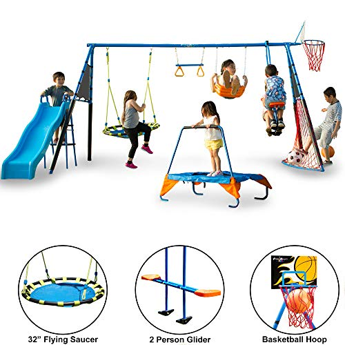 FITNESS REALITY KIDS 'The Ultimate' 8 Station Sports Series Metal Swing Set Michigan