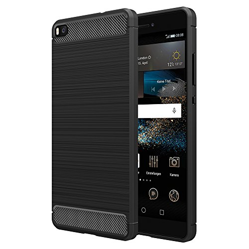 Simpeak Hülle Kompatibel für Huawei P8, Premium Weiche Karbonfaser Elastisch Schützendes Rückseiten-Case Kompatibel mit Huawei P8