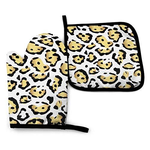 Guantes de Cocina y Juego de Mantel Individual Patrón de estampado de leopardo dorado transparentecon Silicona Antideslizantes para Cocinar, Asar(Juego de 2 piezas)