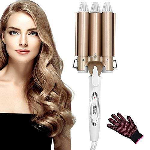 Hair Curler, Curling Iron Upgrade Version Ceramic 3 Barrels Hair Curler,...