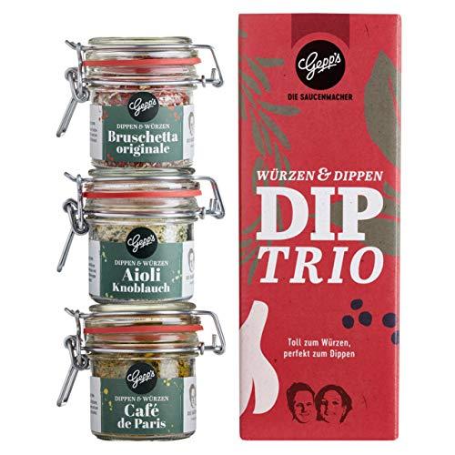 Gepp's Feinkost Dip Trio Geschenkset I Gewürzmischungen für Dips zu Fleisch, Fisch, Kartoffeln, Gemüse, Pasta | Hergestellt nach eigener Rezeptur | 1 Dip ergibt 10 Portionen (202007)