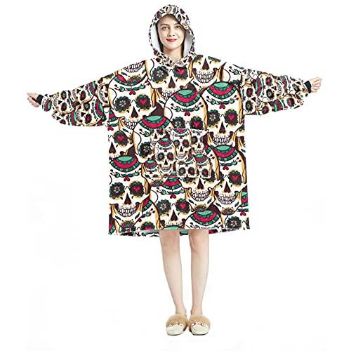 Sudadera con capucha, casual de microfibra suave, camisón cálido para hombres y mujeres, con diseño de calavera vintage de México
