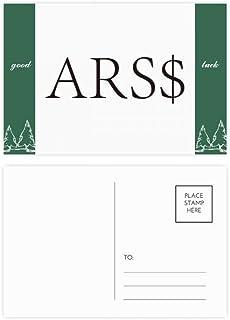 DIYthinker Currency Symbol Argentine Peso Good Luck Postcard Set Card Mailing Side 20Pcs 5.7 inch x 3.8 inch MultiColor