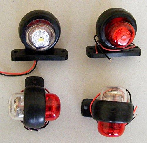 Lot de 4 indicateurs lumineux arrière LED pour camion, remorque, bus, 4x4, caravane, van - Blanc/rouge - 24 V