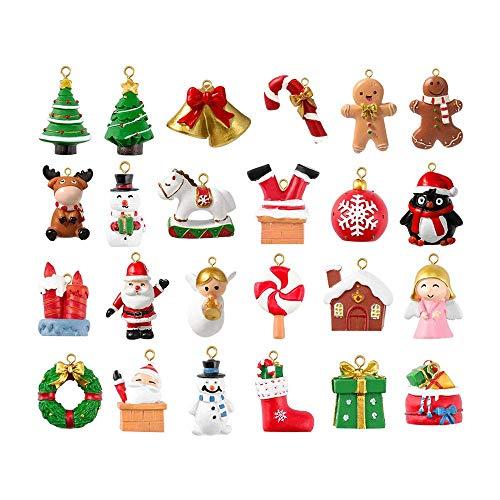 GARNECK Calendario de Adviento Colorido Delicado 24 Adornos Colgantes Navidad Calendario de Adviento para Banquete Festival de Navidad