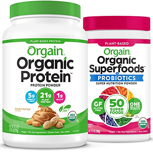 Orgain Bundle - Berry Superfoods Powder and Peanut Butter Protein Powder - Made without Gluten, Non-GMO