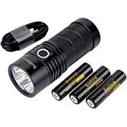 Sofirn BLF SP36 Powerful 6000 Lumen Flashlight USB-C Rechargeable Cree 4 XPL2 LED Neutral White Brightest Outdoor Search Torch with Narsilm V1.2 Comes Battery and Charger