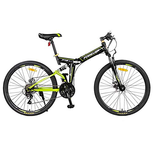 Bike 26 Inch 24 Speed Folding Mountain Front And Rear Shock Absorption Adult Bicycle Double Disc Brake Men And Women Leisure Car Student Variable Speed Bicycle Soft Tail SUV White Green