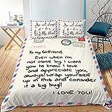 Tomifine Juego de ropa de cama, funda nórdica de 155 x 220 + funda de almohada de 80 x 80 cm, fibra de poliéster hipoalergénica (patrón de 2,155 x 220 cm)