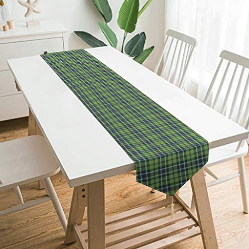 Generic Branded Table Runner 1 Washable Watercolour Grid Tablecloth Decorative for Kitchen White 229 x 33 cm
