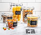 Beautiful 5-Piece Airtight Acrylic Canister Set For Kitchen Counter, Food Storage Container For...