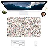 HUBNYO FloralLeather - Alfombrilla de escritorio para escritorio de oficina, superficie lisa, fácil de limpiar, resistente al agua, protector de escritorio para oficina, juegos en casa