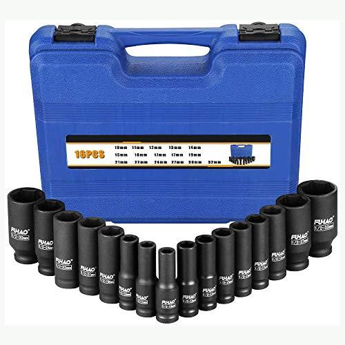 Fuhao douille a choc,douille cle a choc 1/2 pouce 16 pièces, soket set 10 mm-32 mm, matériau CR-V, antirouille, résistant à la corrosion
