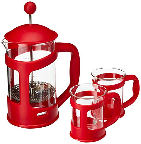 Bialetti Mini Express Set, cafetera de Aluminio 2 Tazas Color Rojo con 2 vasitos para...