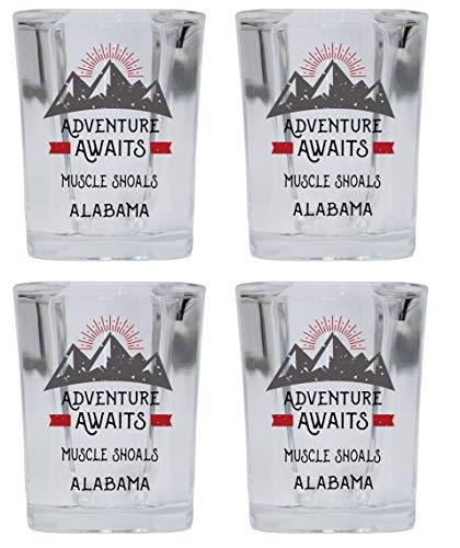 Muscle Shoals Alabama Souvenir 2 Ounce Square Base Liquor Shot Glass Adventure Awaits Design 4-Pack