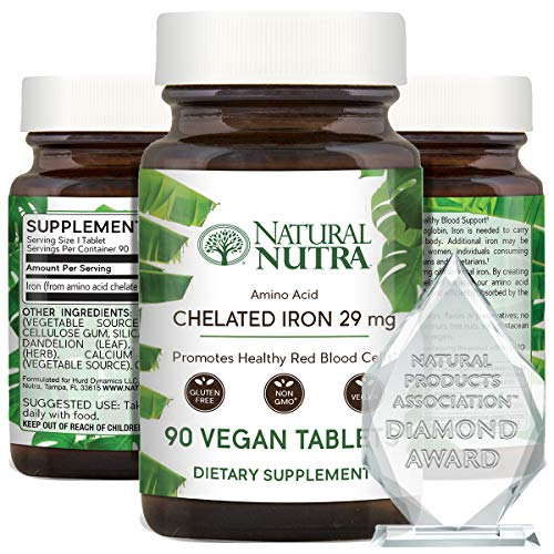 Natural Nutra Chelated Iron Supplement for Men and Women, Helps Maintain Healthy Red Blood Cells, Healthy Nails, Promotes Optimal Absorption, Skin Health, Improves Hair Growth, Gluten Free, 90 Tablets