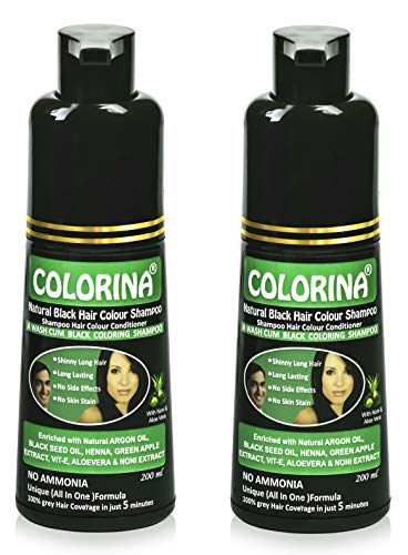 Colorina Hair Color Shampoo 200 ml, Natural Black (Pack of 2) | Ammonia Free | Colors Hair not Skin | Instant Black Hair in Just 5 Minutes